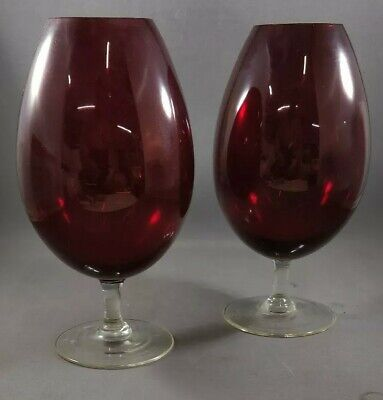 Large Vintage Red Glass Goblet / Vase - Balloon Glass X2 • 19.99£