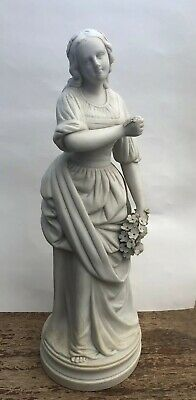 Antique Parian Figurine Of Lady With Flowers As Seen • 48£