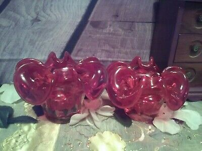 Two Collectable Chunky Hand Blown Ruby Red Glass Fluted Bowls / Candle Holders.  • 16£