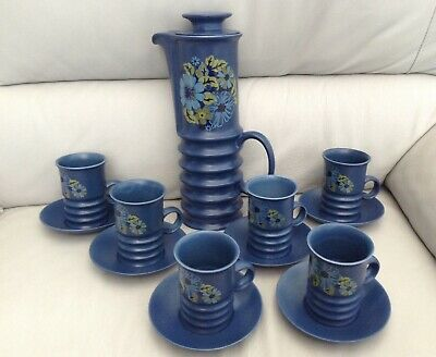 Carlton Ware - Vintage - Wellington Coffee Pot With 6 Cups & Saucers • 59£