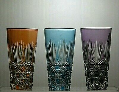Vintage Cut Glass Lead Crystal Colour Tumblers Set Of 3  • 69.99£