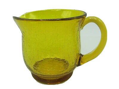 Crackle Glass Amber Pitcher Creamer Applied Handle • 16.09£