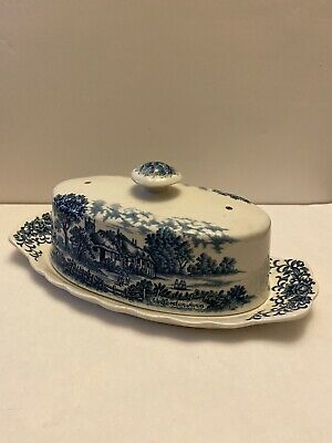 Rare Royal Essex Shakespeare Country Ironstone Welford On Avon Butter Dish • 30£