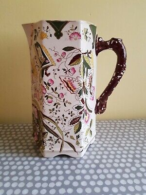 Antique Ceramic Water Jug. Highly Decorated With Butterflies & Flowers  • 12£