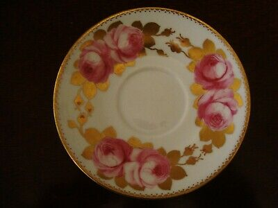 Crescent Porcelain Saucer With Hand Painted Pink Roses And Gilding   20/283 • 18£