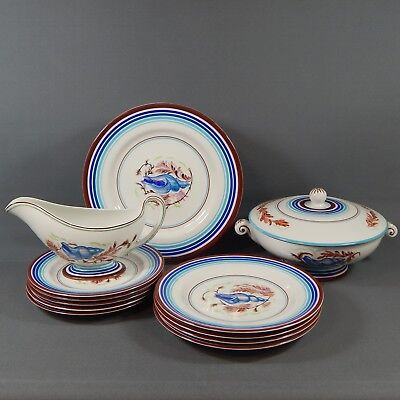 Hand Painted China Shell Part Dinner Service 13 Plates Tureen Gravy Boat Vintage • 60£