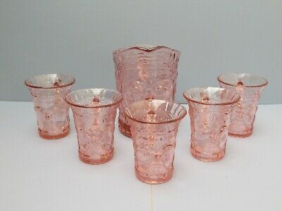 Vintage Pink Glass Jug And Five Cups With Face Image   • 79.99£