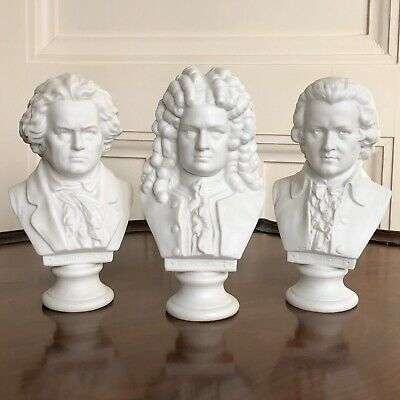 Three Antique Parian Busts Of Composers, Mozart, Handel And Beethoven. 16cm. • 160£
