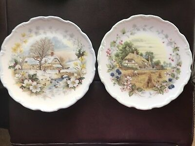 Royal Albert Cottage Garden Year Series Winter And Autumn Plates • 9.99£