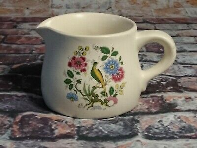 Small Purbeck Ceramics Floral Jug With Birds  Made In England • 7£