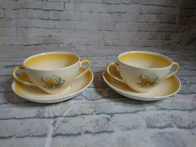 Rare Newhall Pottery Richmond Yellow Double Handled Cups And Saucers • 14.99£