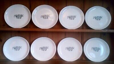 1950s Pountney & Co Bristol, Set Of 8 Dinner Plates, 10 , Mid Century Modern • 32£
