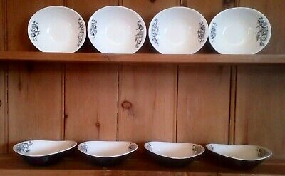 1950s Pountney & Co Bristol, Set Of 8 Eared Bowls, 7 , Mid Century Modern • 25£