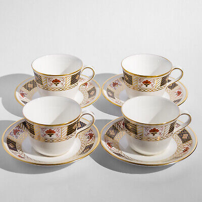 Royal Crown Derby Border Imari A.1253 Four Tea Cups & Saucers England Firsts • 19.99£