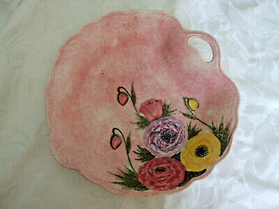 Vintage Radford Pottery Plate In Mottled Pink & Poppy Design • 10£