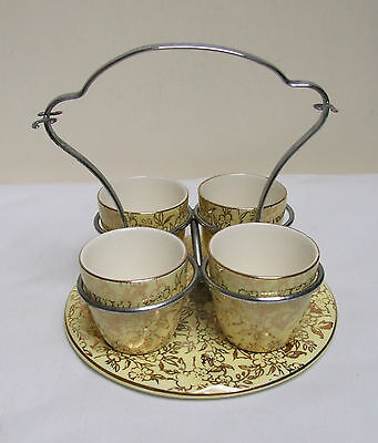 MAYELL ENGLAND LEMON GILT CHINTZ 4 EGG CUP SET CHROME HANDLE 5 Piece VINTAGE • 24.99£