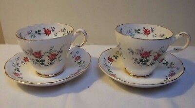 Fine Bone China Duos Tea Cup & Saucer Gilt Floral Roses & Forget Me Nots • 9.99£