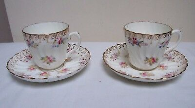 Victorian Wrythen China Duos Tea Cup & Saucer Hand Coloured Floral • 19.99£