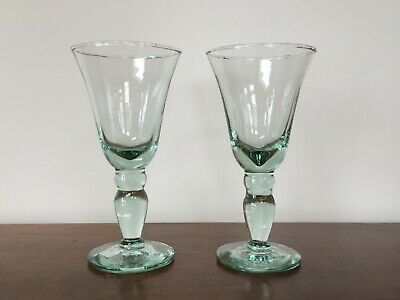 Blown Glass Light Green Wine Water Glasses ~ Pair • 22.41£