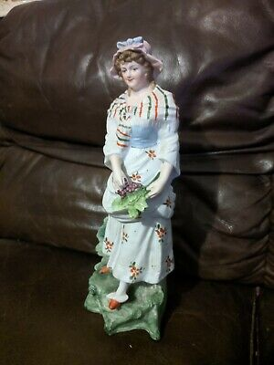 Vintage Antique Bisque Parian Hand Painted Lady With Grape Figurine, 12  • 34£