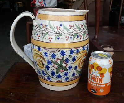 Large Hand Painted French Faience Tin Glazed Water Jug • 30£