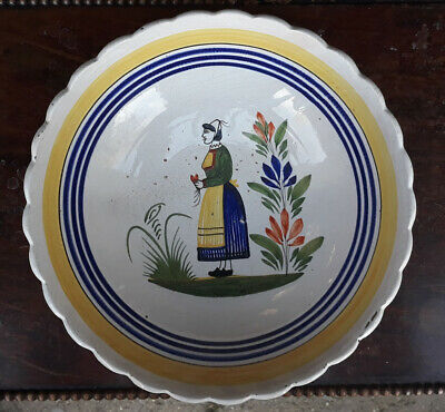 25cm Signed Henriot Quimper Hand Painted French Faience Tin Glazed Bowl Dish • 15£