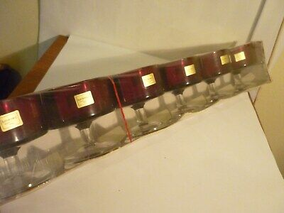 6 Ruby Red Glasses Crystal Luminarc Verrerie D'Arques France Unused Boxed • 18£