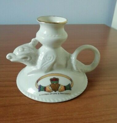 Vintage CRE Galway Ireland China Candlestick Symbol Of Love & Friendship Motto • 7.99£