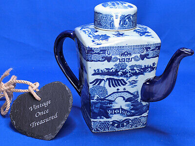 RINGTONS WILLOW TEAPOT * Very Large Square Sided * Vintage Reproduction VGC • 27.50£