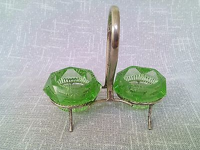 Pair Green Glass Salt Liners And Stand  • 28.50£