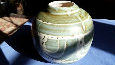 Aviemore Scottish Pottery  Vase Or Pot. Green And Blue • 15£