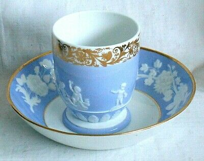 LATE C18TH SPODE CUP AND SAUCER WITH RAISED FLORAL AND GILT DECORATION No.2063 • 20£