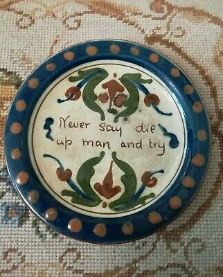 Vintage Hart & Moist Exeter Motto Ware Ceramic Plate Never Say Die Pre 1920s • 8.99£