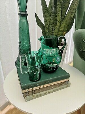 Victorian Bohemian Hand Painted Water Or Wine Jug Plus Glass. Gold Guilding... • 22£