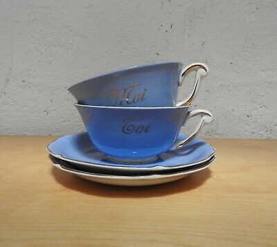 VINTAGE FRENCH 1940s TOI MOI YOU ME TEA CUPS SAUCERS ROMANTIC WEDDING GIFT  • 18£