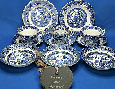 Vintage Willow China * 3 Breakfast Sets * 11 Mixed Cups, Saucers, Bowls, Plates • 23.75£