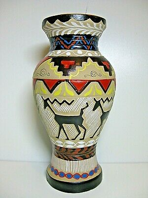 Unusual Vintage Vase Possibly Aztec Pottery Clay Ware 22cm Tall • 14.95£