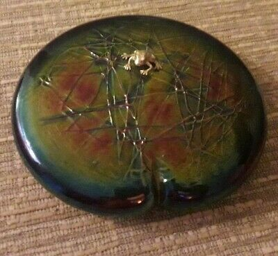 John Ditchfield Glasform Lilypad Paperweight With Silver Frog And Signed  • 115£