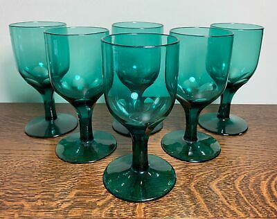 Vintage Set Of 6 Georgian Style Green Glass Wine Drinking Glasses Perfect 12cm • 30£