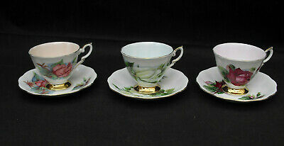 Royal Standard Bone China World Famous Roses Harry Wheatcroft 3 Cups & Saucers • 15£