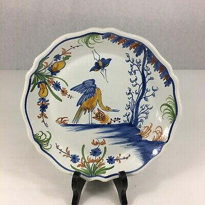 20th Century French Faience Plate Painted With Bird Signed 23.5cm Diameter • 39£