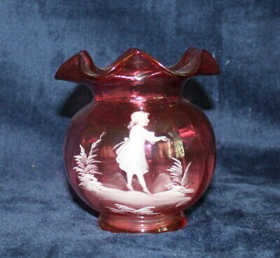 "Vintage Victorian ""Mary Gregory"" Hand Enamelled Ruby Glass Vase. Snapped Pontil. • 6.99£"