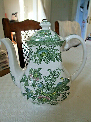 Vintage Unmarked Coffee Tea Pot, White With Green Pattern • 20£