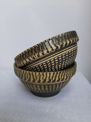 Pair Matching Vintage Hand Decorated Indoor Ceramic Glazed Bowls Or Plant Pots • 4.70£