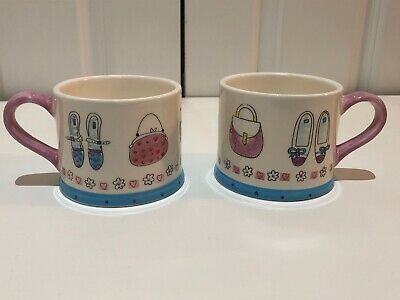 MARKS & SPENCER Set Of Two Ceramic Mugs M&S Handbags & Shoes  • 12£