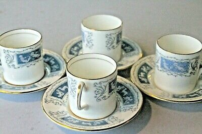 Coalport 'Revelry' Blue & White Cherubs Coffee Cans & Saucers X 4 • 12.99£
