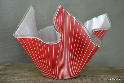 Large Chance Glass Retro Vintage Red Handkerchief Vase Bowl • 25£