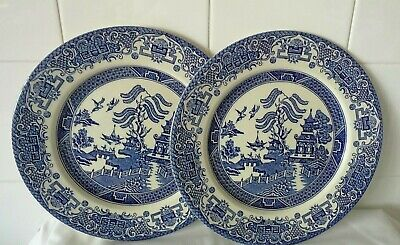Vintage    Willow Pattern   Pair Dinner Plates  Diameter 9 1/2    -    • 6.99£