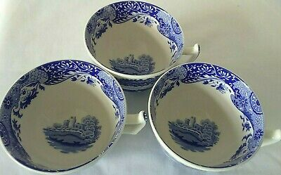 Spode Italian, Blue & White Tea Cups X 3 VGC • 7.99£
