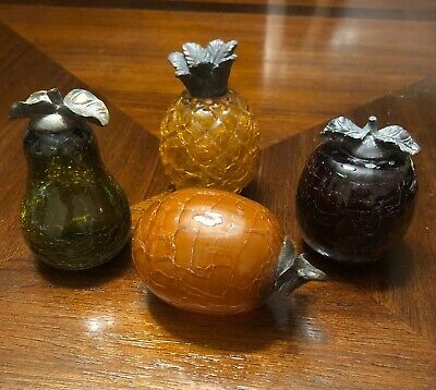 Hand Blown Art Glass Fruit Figurines With Iron Stems Crackle Glass Home Decor • 27.77£